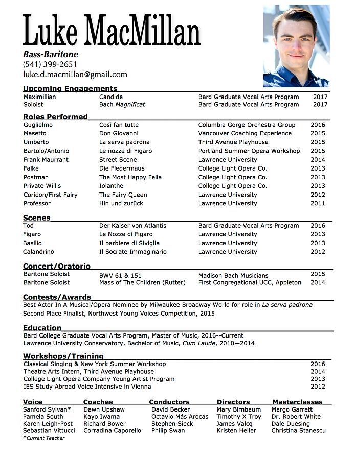 Singer resume example