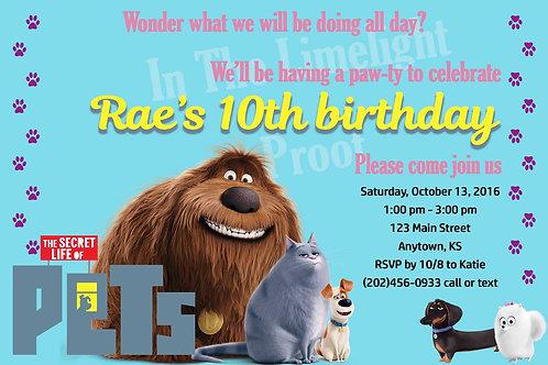 Secret Life of Pets Birthday Invitation
