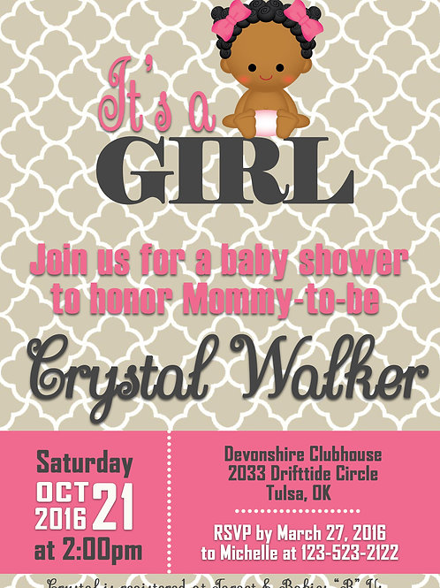 It's A Girl Pink Gray Baby Shower Invitation