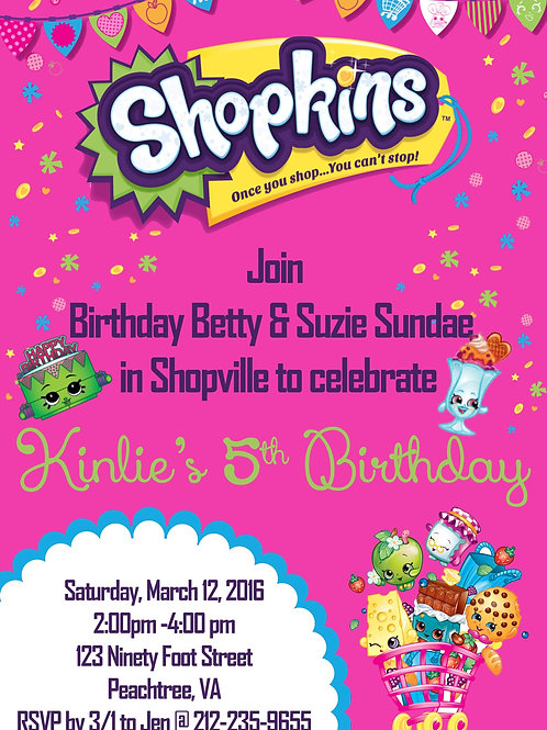 Shopkins Shopping Cart Birthday Invitation