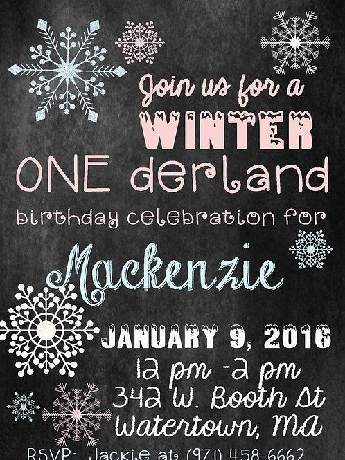 Winter ONE-derland Birthday Invite