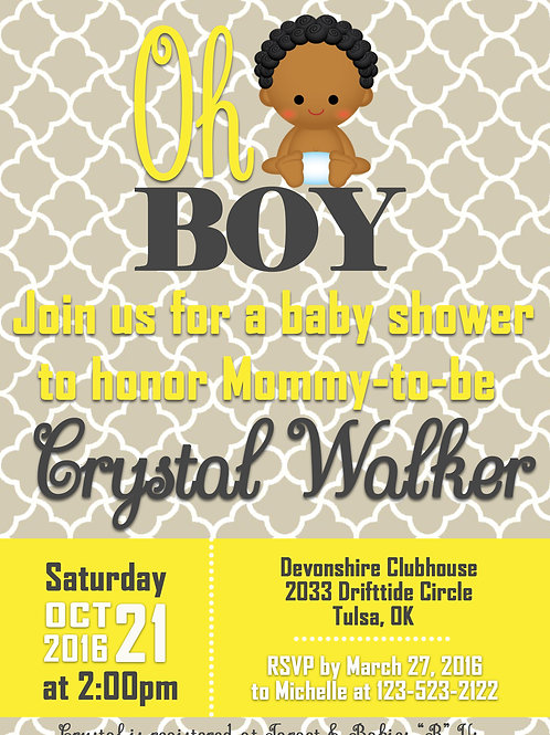 Oh Boy Yellow Gray Baby Shower Invitation