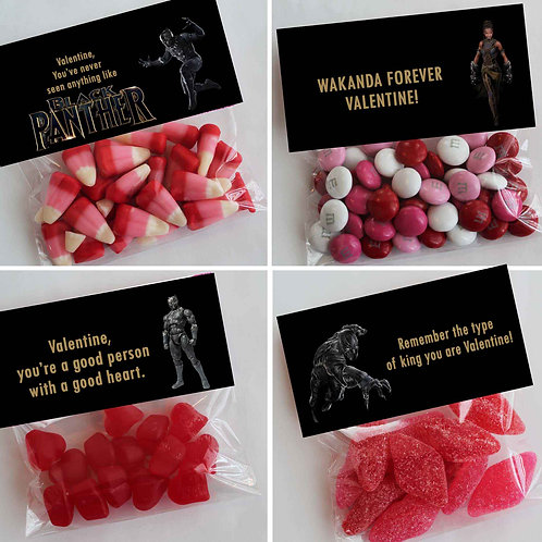 Black Panther Valentine Treat Topper