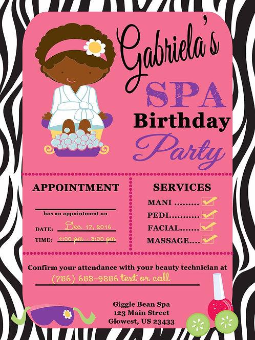 Spa Birthday Invitation