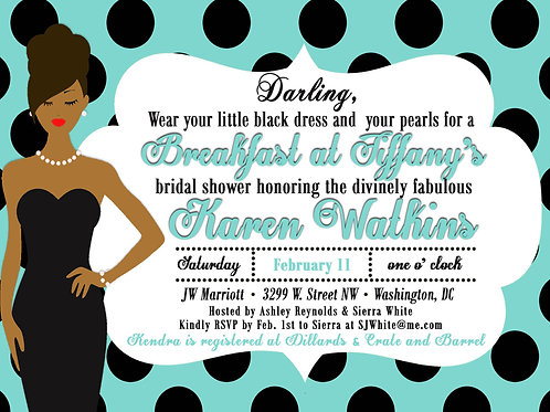 Tiffany's LBD & Pearls Bridal Shower Invitation