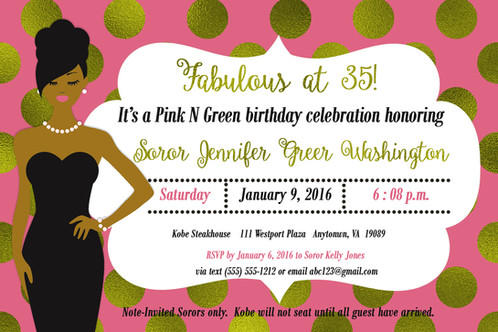 Pretty In Pink Lady Birthday Invite
