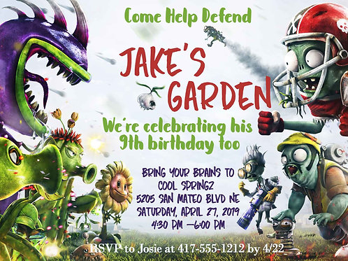 Plants vs. Zombies Birthday Invitation