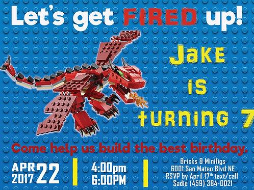 Lego Dragon Birthday Invitation