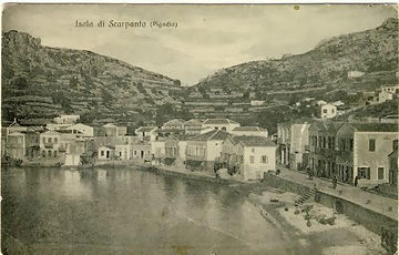 old image of karpathos buildings