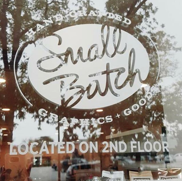 Small Batch Graphics + Goods exterior vinyl logo