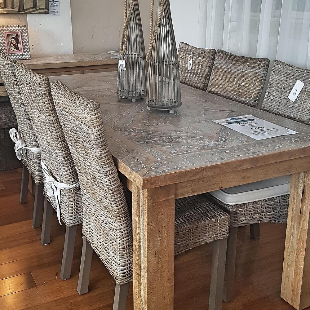 Arogane rattan woven dining chairs