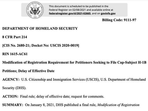 H1B突发消息:基于工资的H-1B签证生效日期延迟到2021年12月31日