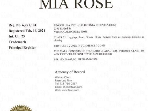 """服装商标""""MIA ROSE"""" 获得美国商标注册证书"""