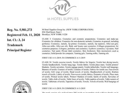 酒店用品品牌M HOTEL SUPPLIES 成功获得商标证