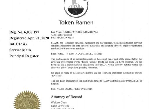 餐饮品牌TOKEN RAMEN 商标证一次性获批