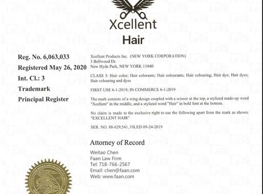 美发用品商标Xcellent Hair 如期获得美国商标注册证书