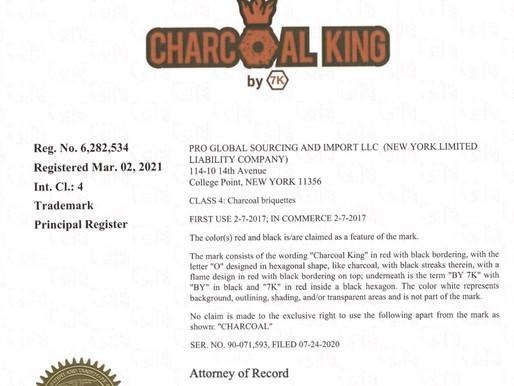 """亚马逊热销品牌""""CHARCOAL KING BY 7K"""" 两度申请终获美国商标注册证书"""