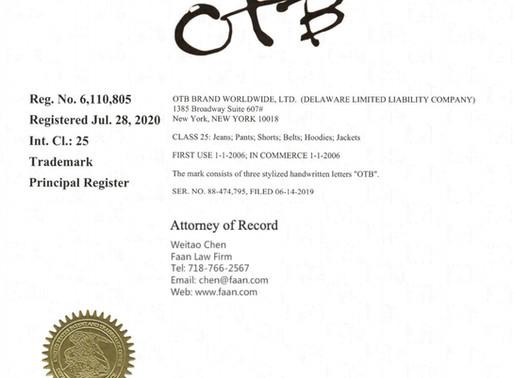 服装商标注册再传捷报 OTB品牌服饰获得美国服装商标注册证书