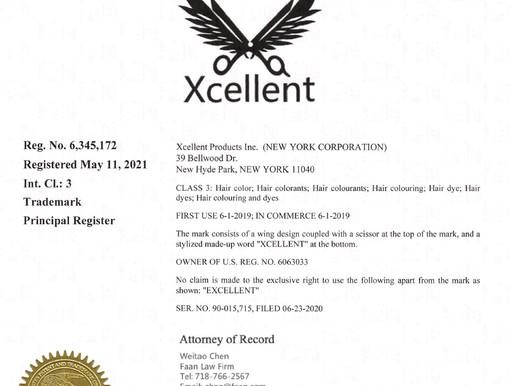 """染发产品商标""""XCELLENT"""" 获得美国商标注册证书"""