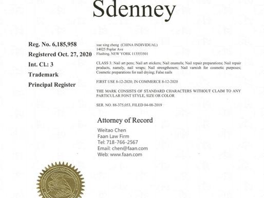 """美甲用品商标""""SDENNEY""""获得联邦商标证书"""