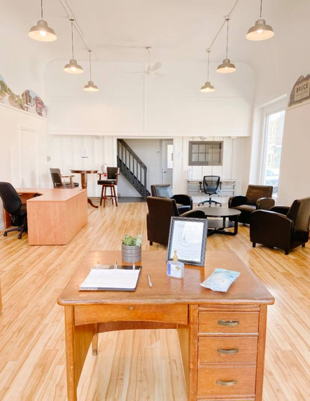 Entry and co-working space at The Hub