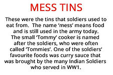 mess tins from our WW1 soldier's pack for hire to primary schools
