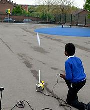 boy firing a space rocket year 4