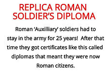soldier's diploma from our roman artefacts for primary schools box