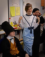 dressing up as victorians in our victorian school workshop