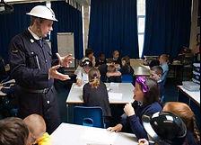 Air raid warden in primary school