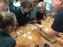 looking at stone age to iron age artefacts with mr B