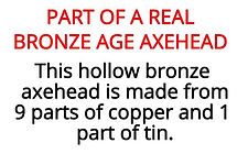 Bronze age axe from our stone age artefacts box for primary schools