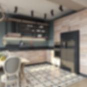 Zementplatten in einer Küche verlegt