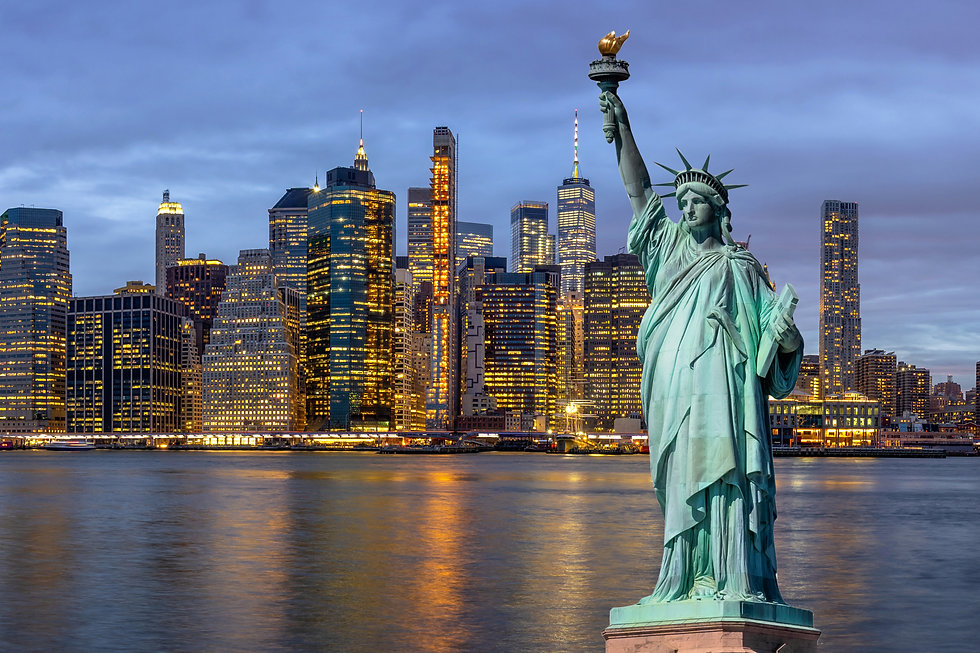 The Statue of Liberty over the Scene of New york Cityscape with Brooklyn Bridge beside the...nd .jpg