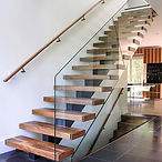 straight stairs wood glass balustrade.jp