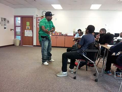 Laron at Heritage School Speaking.jpg