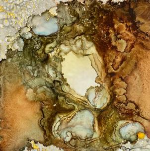 Nebula Geode Brown Blue Yellow Center