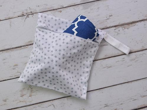 Blue Quatrefoil Lollie Wrap + Wet Bag Combo