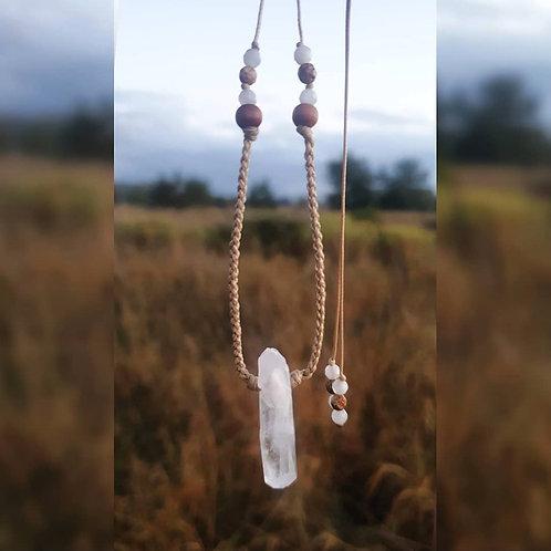 Pleciony Naszyjnik ~ Kryształ Górski & Kamień Księżycowy, Jaspis Cesarski