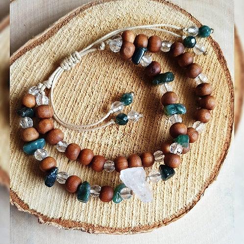 Podwójna bransoletka ~ Kryształ Górski & Agat Indyjski