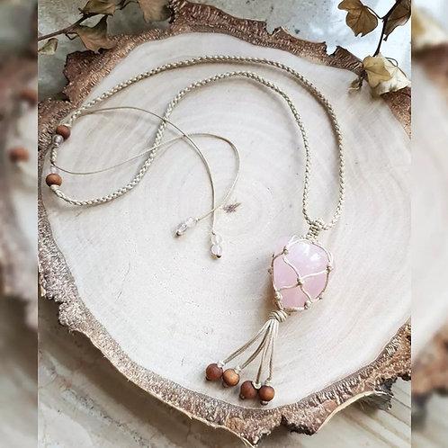 Pleciony Naszyjnik ~ Różowy Kwarc & Jasny Sznurek