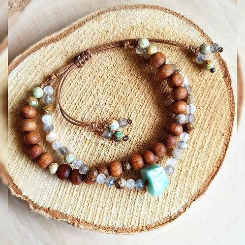 Podwójna bransoletka ~ Amazonit & Labradoryt, Kamień Księżycowy, Chryzokola