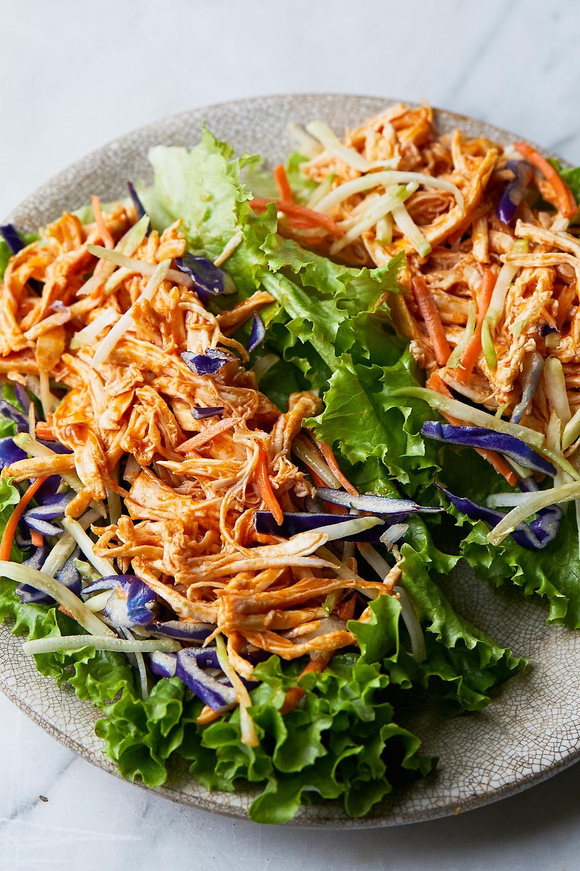 shredded buffalo chicken lettuce wraps