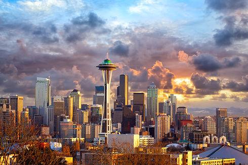 Seattle skyline at sunset, WA, USA.jpg