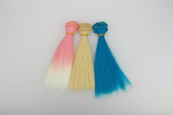Волосы-трессы для кукол прямые. Набор 3 шт.