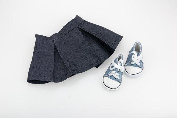 Набор юбка+кеды на куклу BJD.