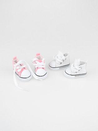 Кеды для кукол 2 шт. Цвет: розовый, белый.