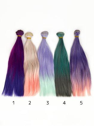 Волосы-трессы для кукол прямые 25 см