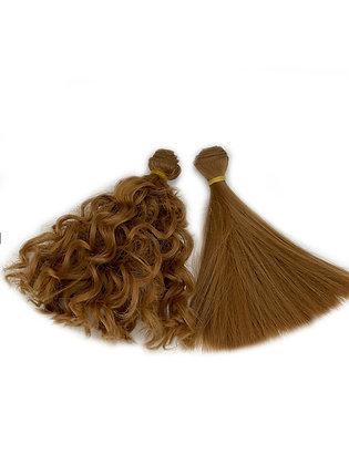 Волосы-трессы для кукол кудри+прямые, набор 2 шт