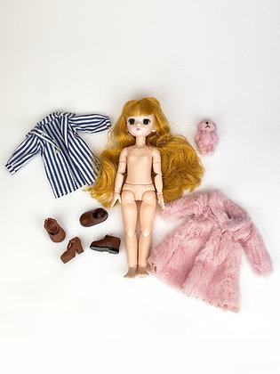 Набор материалы+шарнирная кукла НШ3004